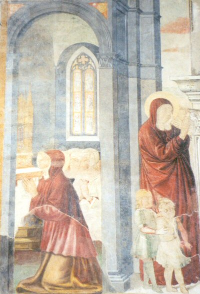 Gozzoli 03a St. Monnica is praying for her son, Augustine is leaving her / Monnica bidt